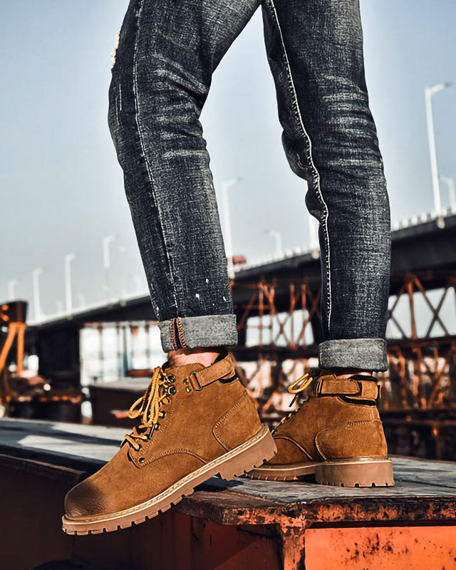 mens-Leather Lace Up Work Boots - Jesse [Brown] - Alexandre León