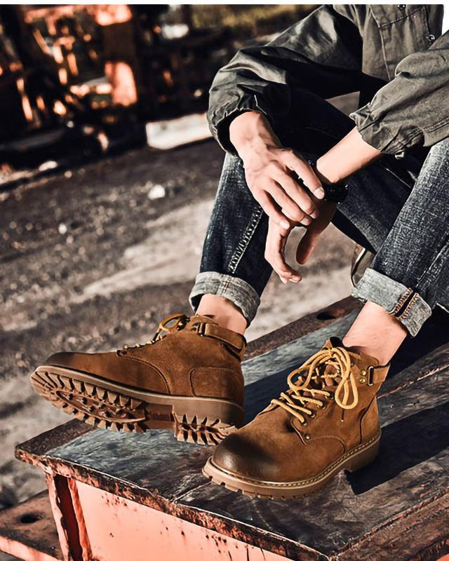 Leather Lace Up Work Boots - Jesse - Alexandre León | brown
