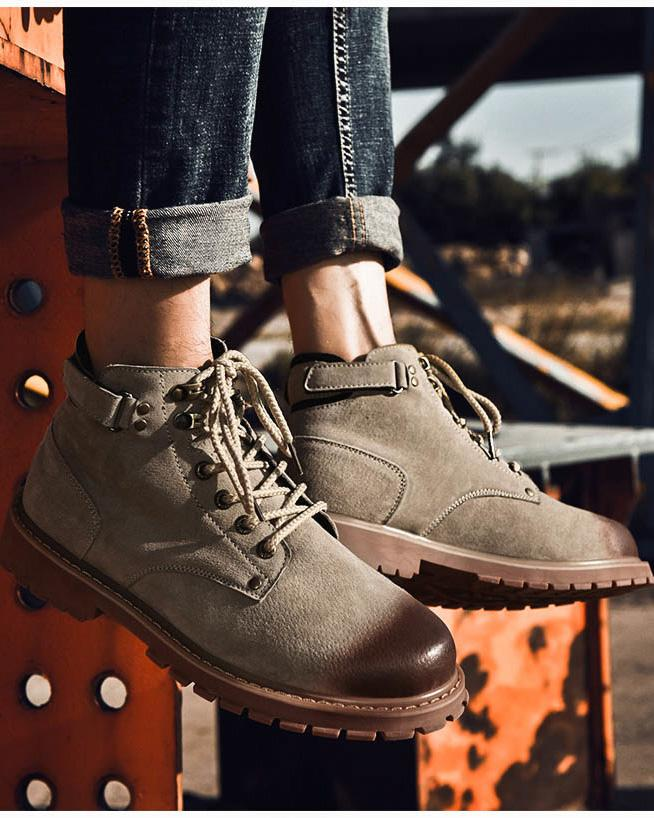 Leather Lace Up Work Boots - Jesse - Alexandre León | khaki