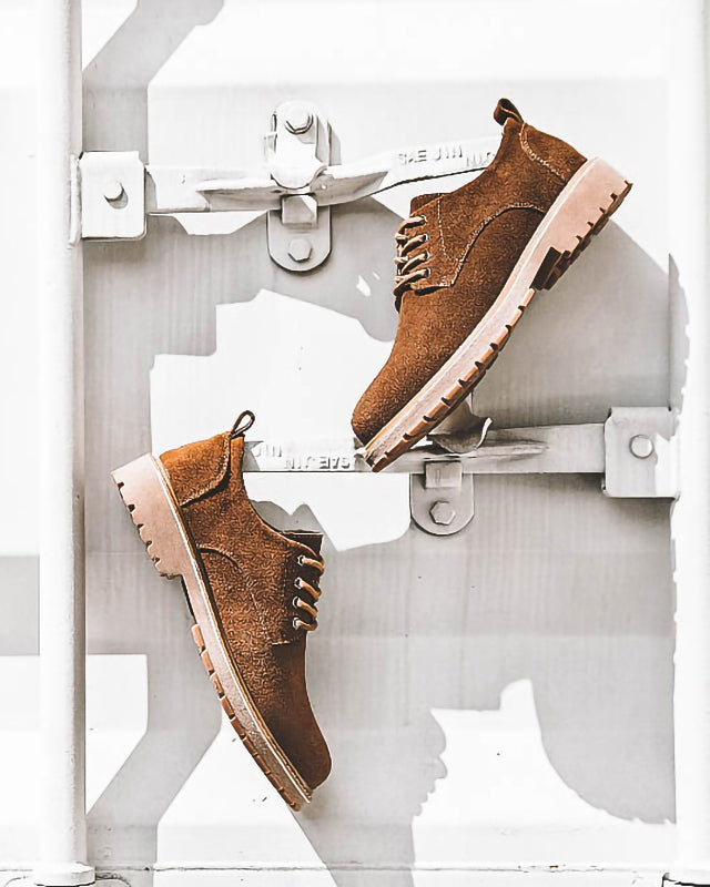 mens-Leather Lace Up Ankle Work Boots - Walter [Brown] - Alexandre León