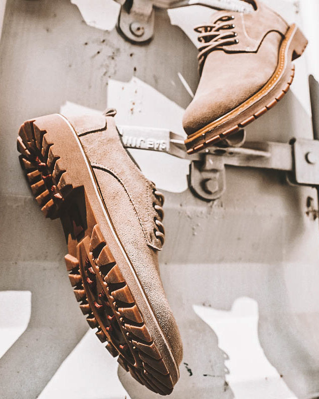 mens-Leather Lace Up Ankle Work Boots - Walter [Tan] - Alexandre León