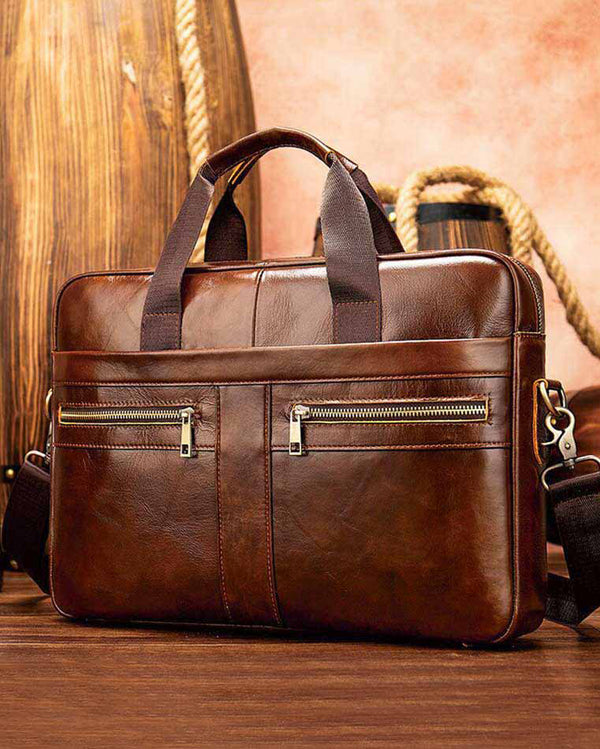 mens-Leather Laptop Bag - Hugo [Coffee Brown] - Alexandre León