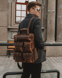 Leather Backpack - Micah [Rustic Brown]