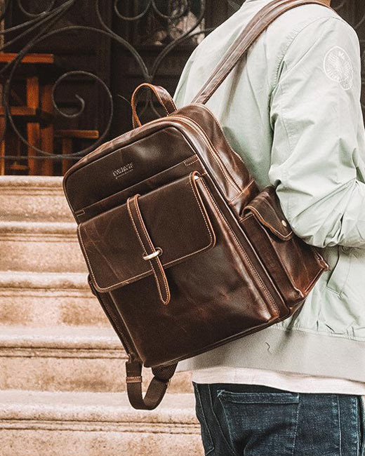 mens-Leather Backpack - Monteray [Coffee Brown] - Alexandre León