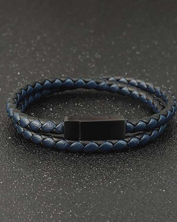 mens-Leather Bracelets - Bruce - Alexandre León | blue