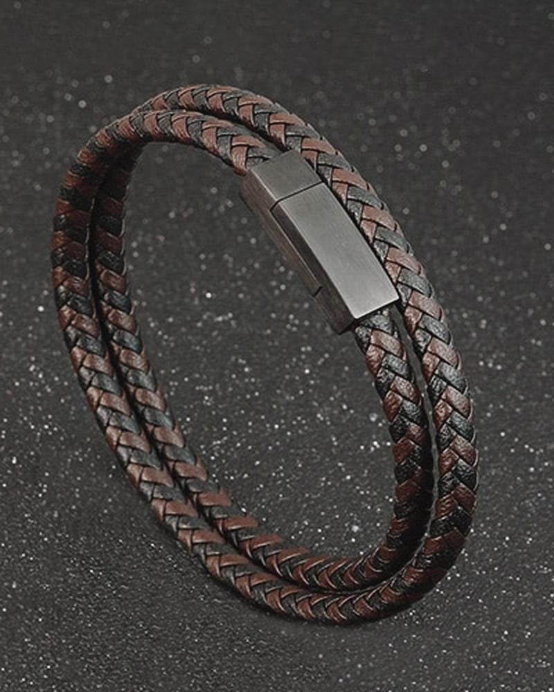 mens-Leather Bracelets - Bruce - Alexandre León | coffee-brown