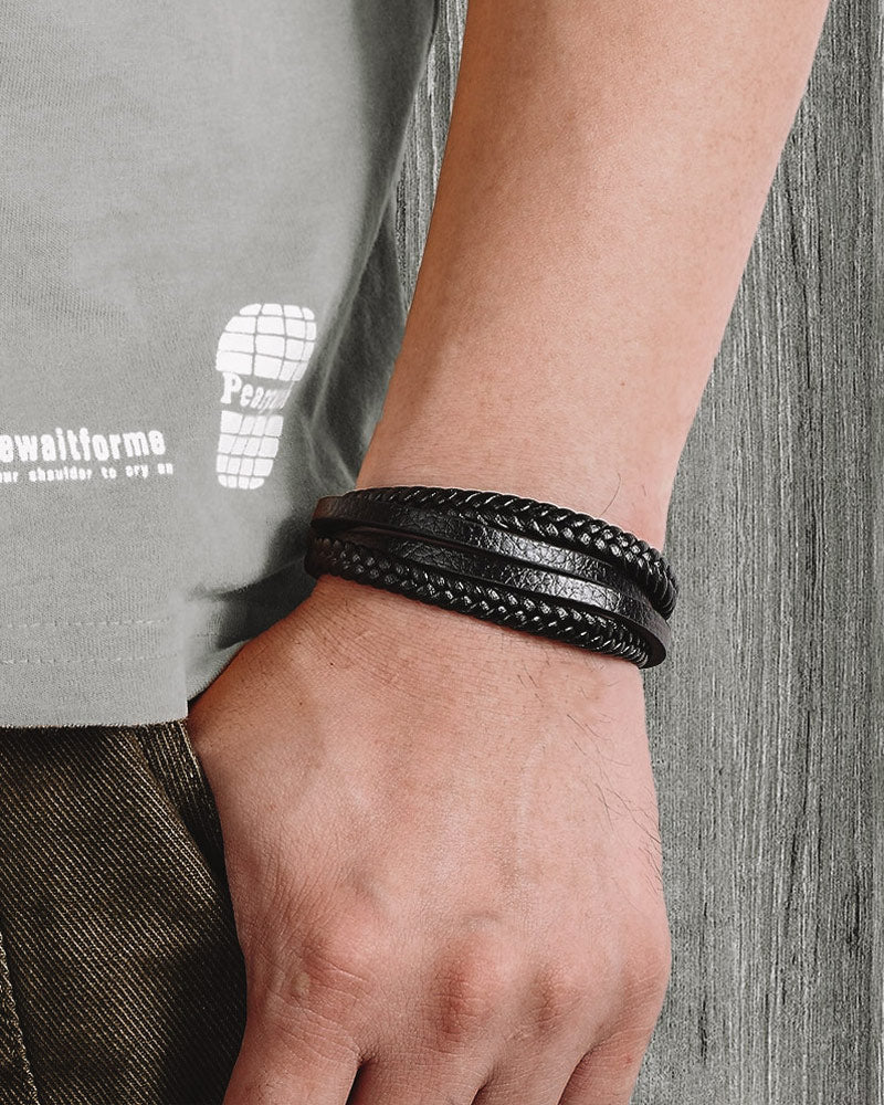 Leather Bracelets - Bryan [Black]