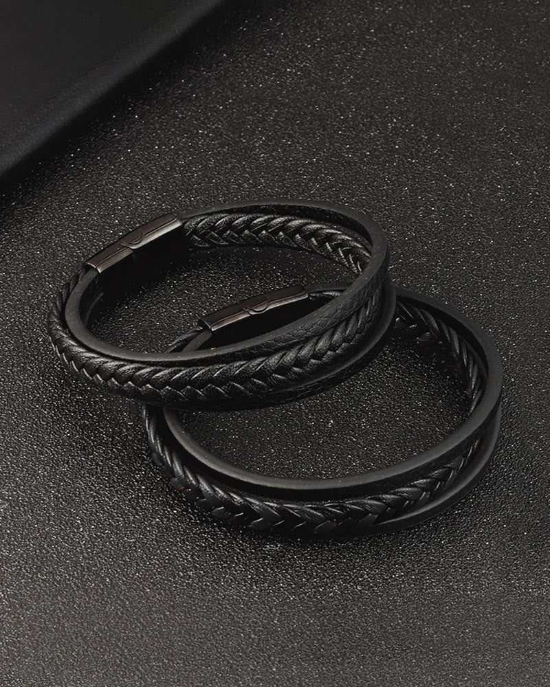 Leather Bracelets - Justin [Black]