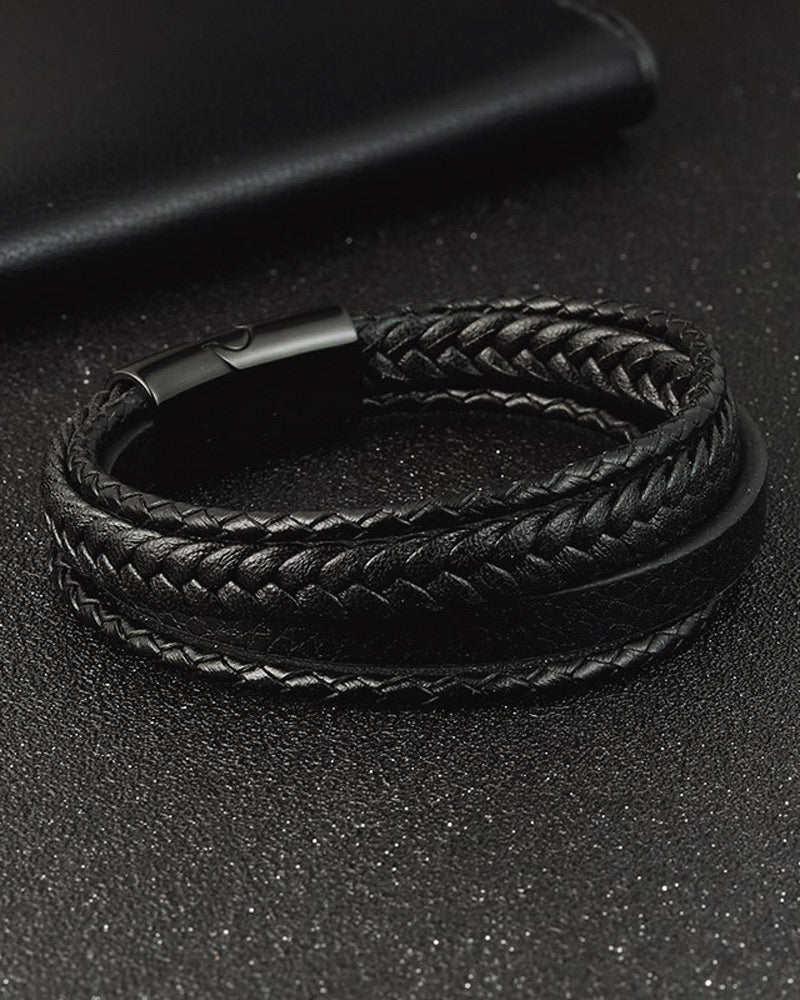 Leather Bracelets - Russell [Black]