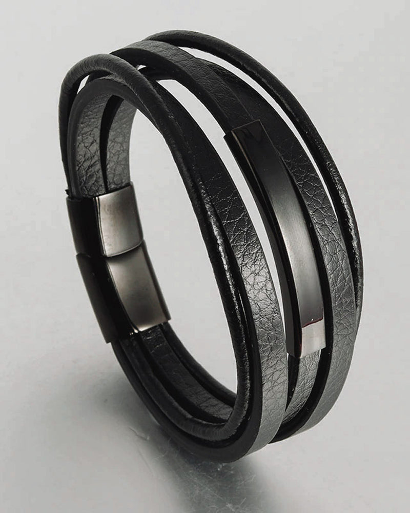 mens-Leather Bracelets - Tyler - Alexandre León | black