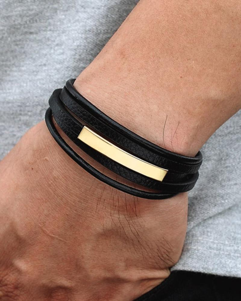 mens-Leather Bracelets - Tyler - Alexandre León | gold