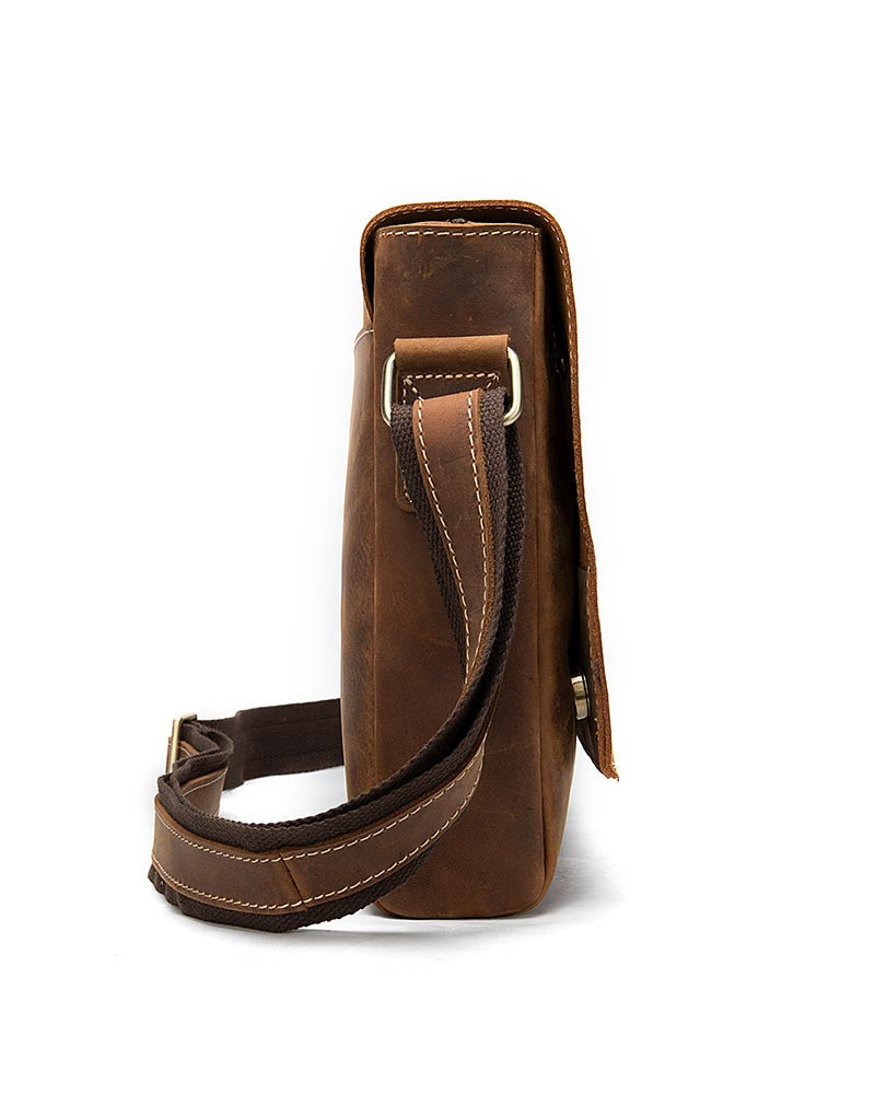 Leather Crossbody Bag / Mini Messenger Bag - Dominic - Alexandre Leon | brown