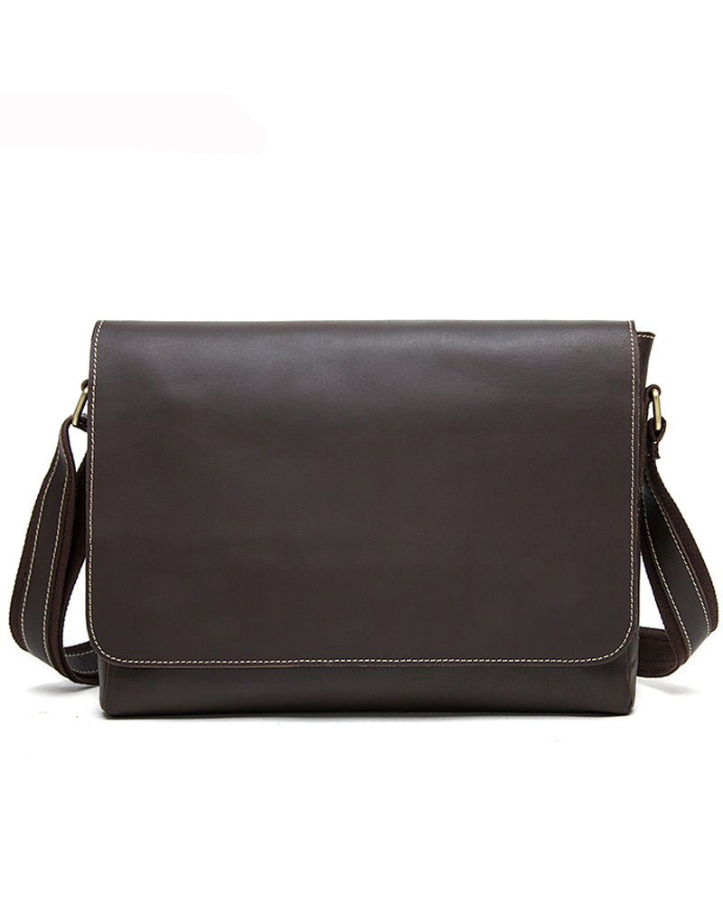 Leather Crossbody Bag / Mini Messenger Bag - Dominic - Alexandre Leon | coffee-brown