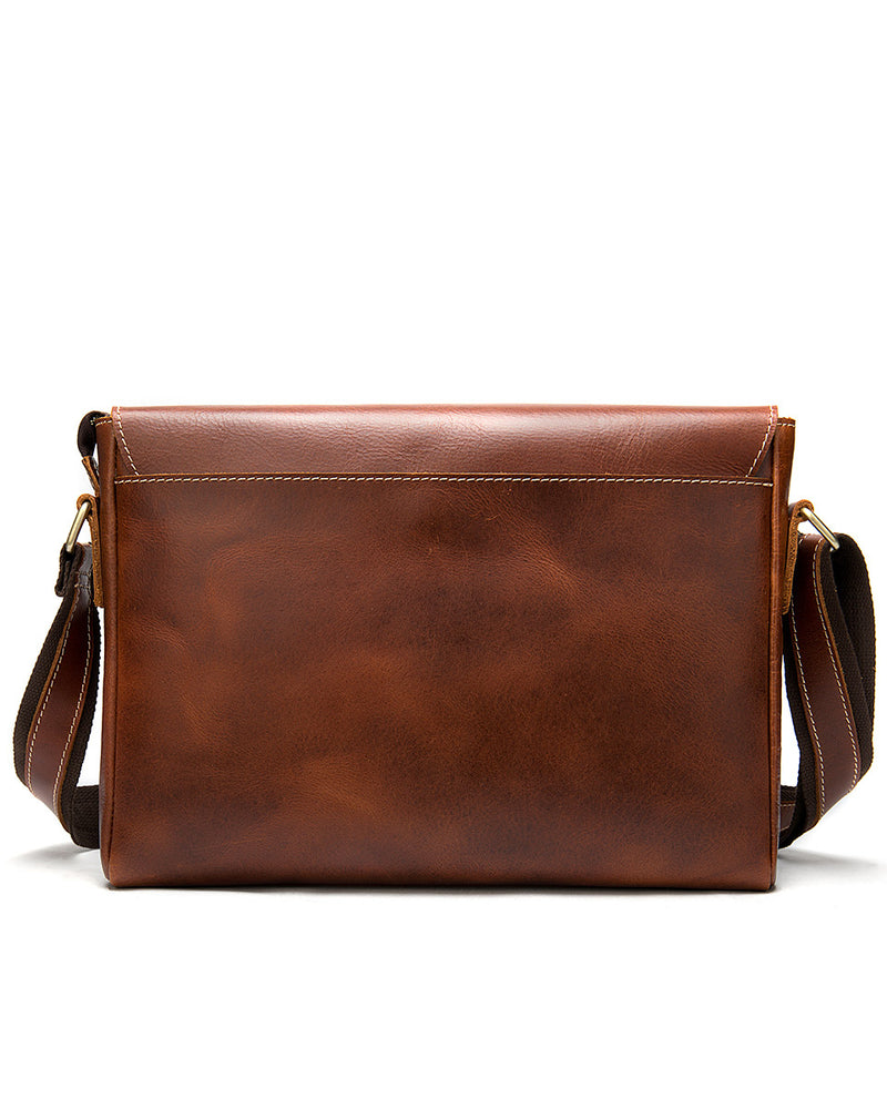 Leather Crossbody Bag / Mini Messenger Bag - Dominic - Alexandre Leon | red-brown
