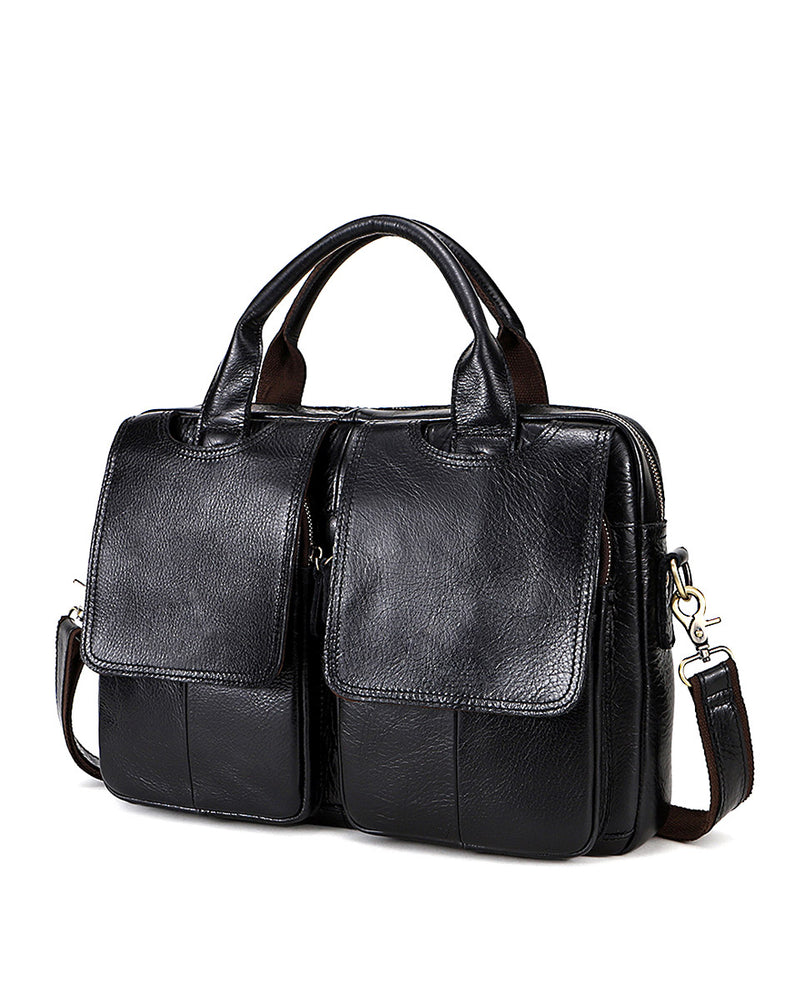 Leather Briefcase/ Laptop Bag - Nathaniel - Alexandre Leon | black