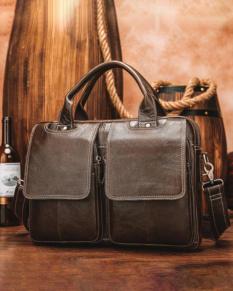 Leather Briefcase/ Laptop Bag - Nathaniel - Alexandre Leon | coffee-brown