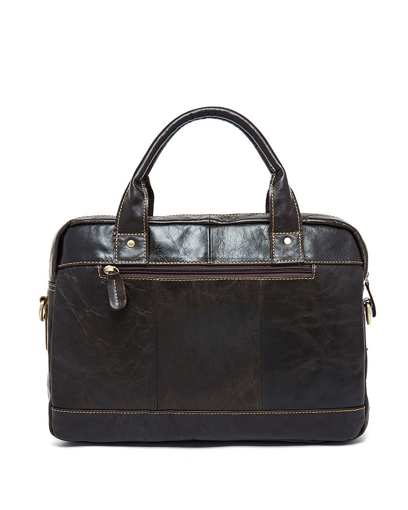 Leather Briefcase/ Laptop Bag - Nathaniel - Alexandre Leon | dark-coffee-brown