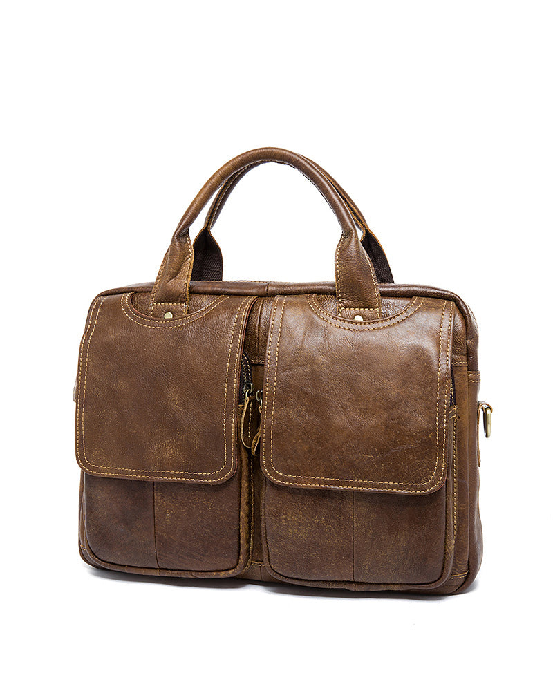 Leather Briefcase/ Laptop Bag - Nathaniel - Alexandre Leon | mosha-brown