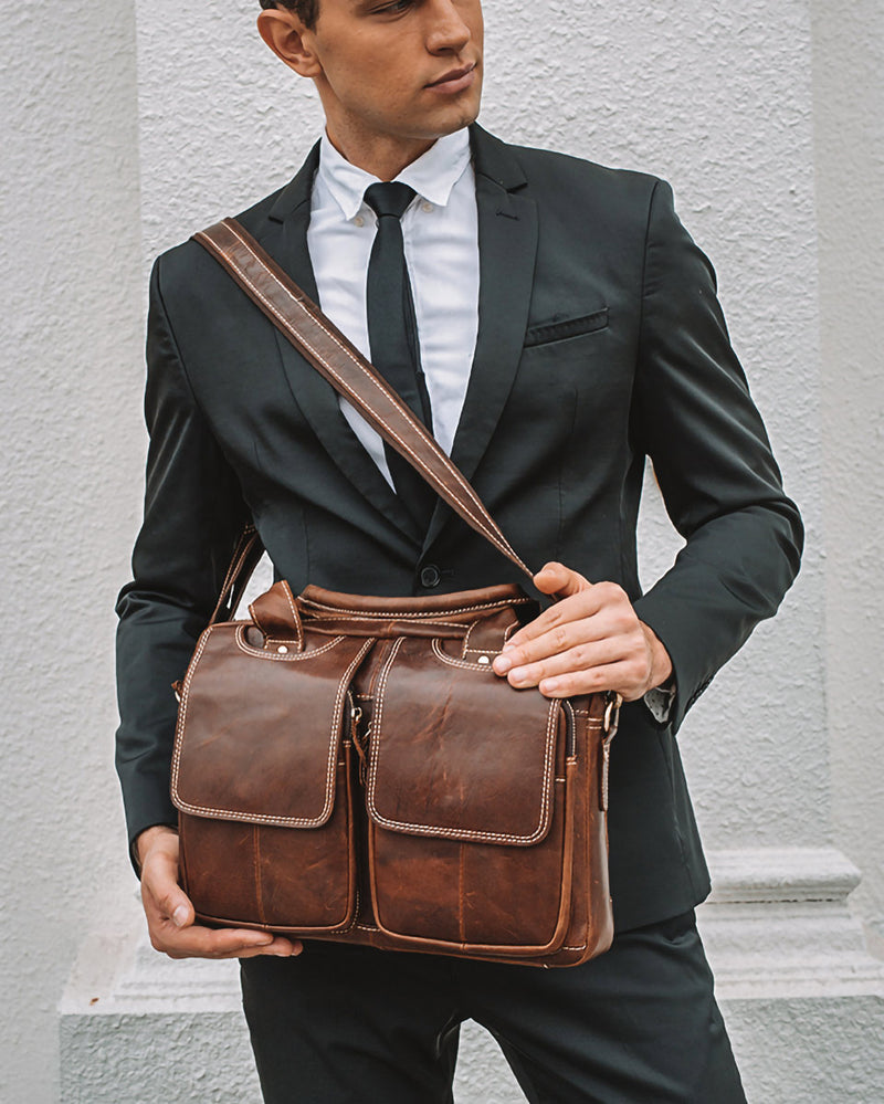 Leather Briefcase/ Laptop Bag - Nathaniel - Alexandre Leon | red-brown