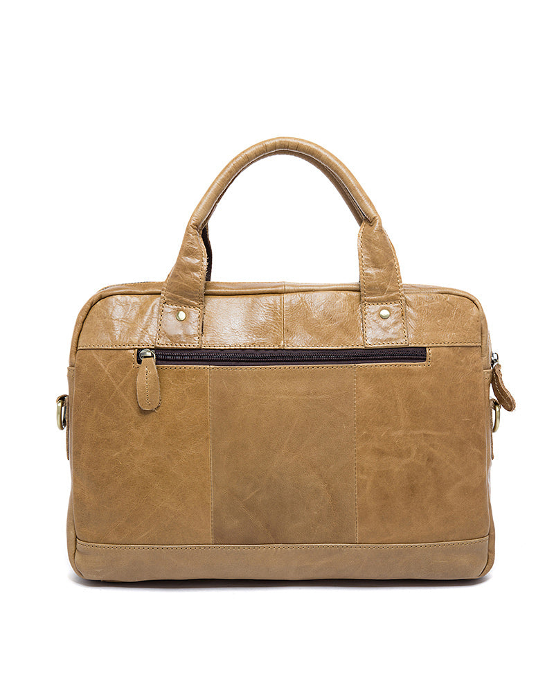 Leather Briefcase/ Laptop Bag - Nathaniel - Alexandre Leon | yellow-brown