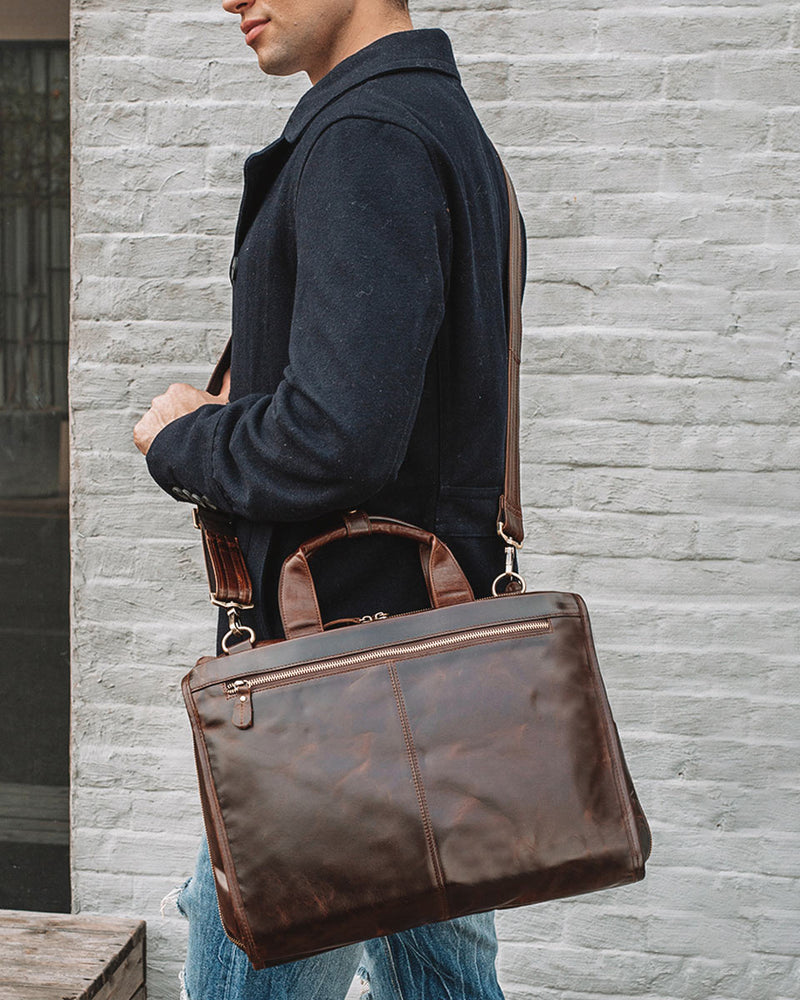 Leather Briefcase/ Laptop Bag - Silas [Coffee Brown] - Alexandre Leon