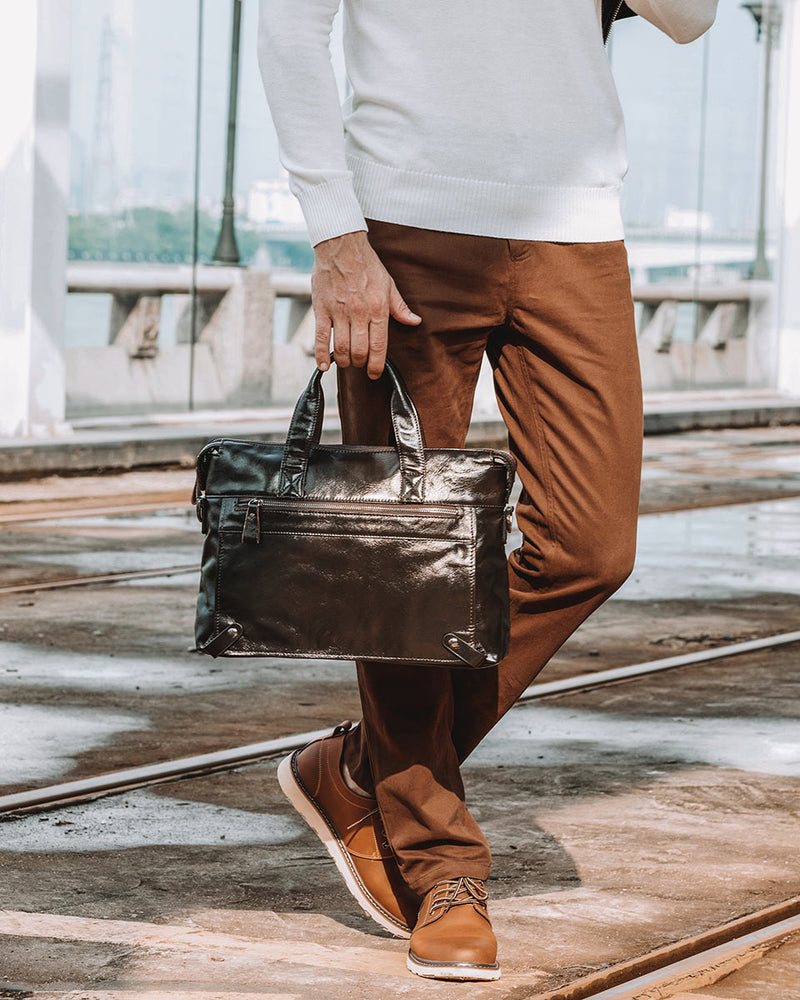 Leather Briefcase/ Laptop Bag - Tristan [Coffee Brown] - Alexandre Leon
