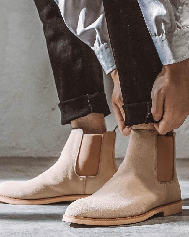 mens-Leather Chelsea Boots - Liam - Alexandre León | tan