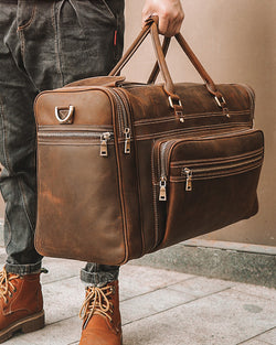 mens-Leather Duffel Bag - Colombo [Rustic Brown] - Alexandre León