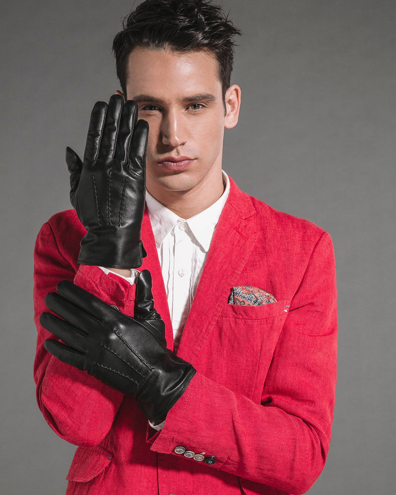 mens-Leather Gloves - Benjamin [Black] - Alexandre León