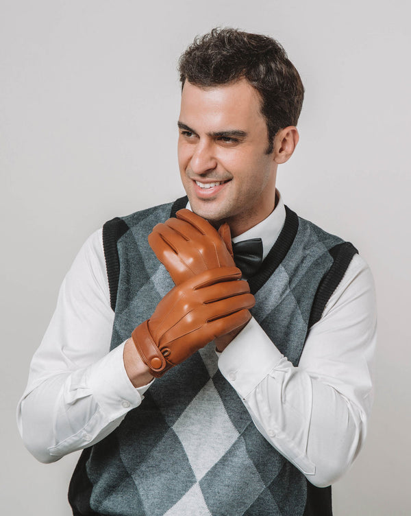 mens-Leather Gloves - Charles [Brown] - Alexandre León