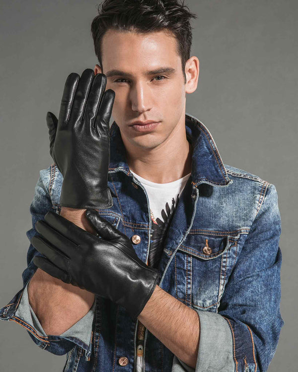 mens-Leather Gloves - Ernest [Black] - Alexandre León