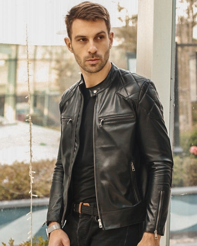 mens-Moto Leather Jacket - Bedford [Black] - Alexandre León
