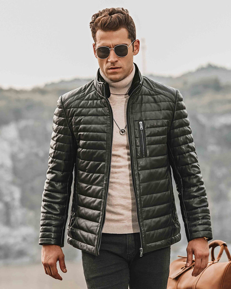 mens-Puffer Leather Jacket - Giovanni [Black] - Alexandre León