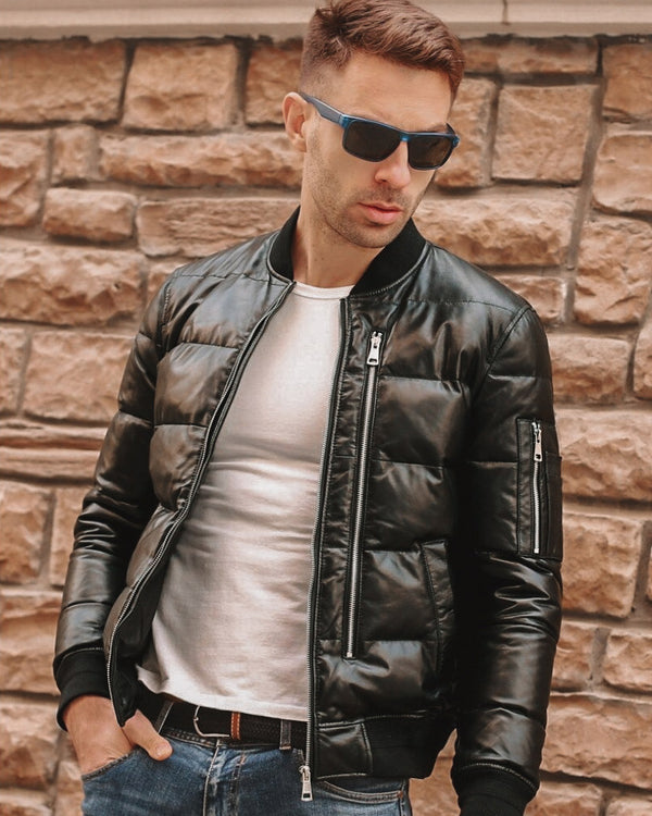 Puffer Leather Jacket - Sergio [Black] - Alexandre León