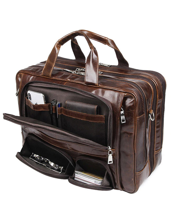 mens-Leather Briefcase/ Travel Bag - Franco [Brown] - Alexandre León