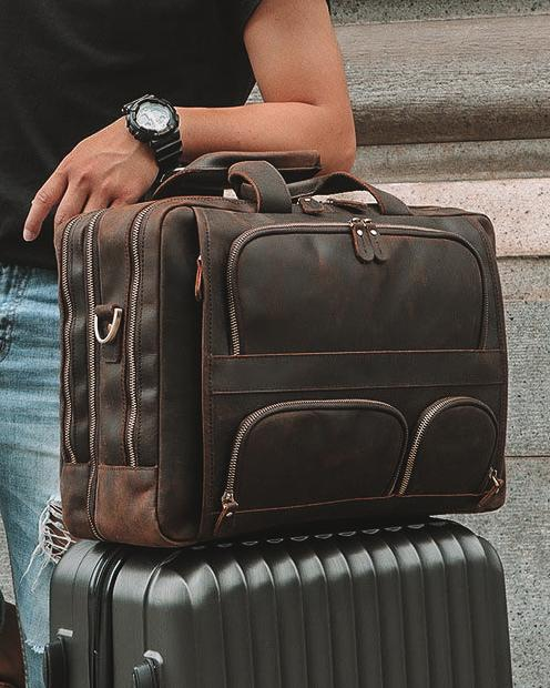 Leather Briefcase/ Travel Bag - Franco - Alexandre León | rustic-brown