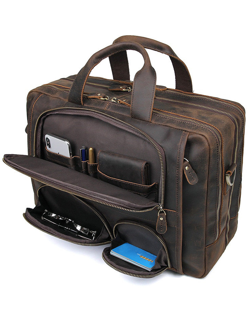 mens-Leather Briefcase/ Travel Bag - Franco [Rustic Brown] - Alexandre León