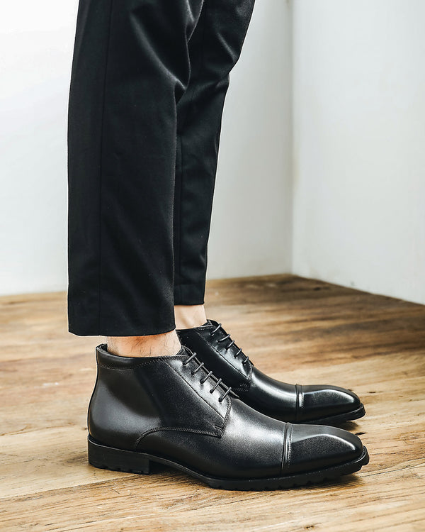 mens-Leather High Ankle Derby Shoes - Alistair - Alexandre León | black
