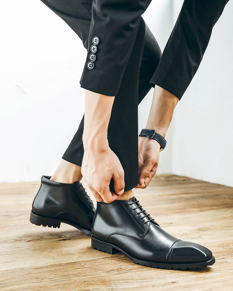Leather High Ankle Derby Shoes - Alistair [Black]