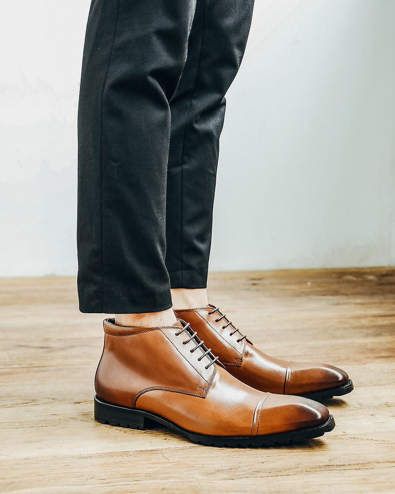 Leather High Ankle Derby Shoes - Alistair [Brown]