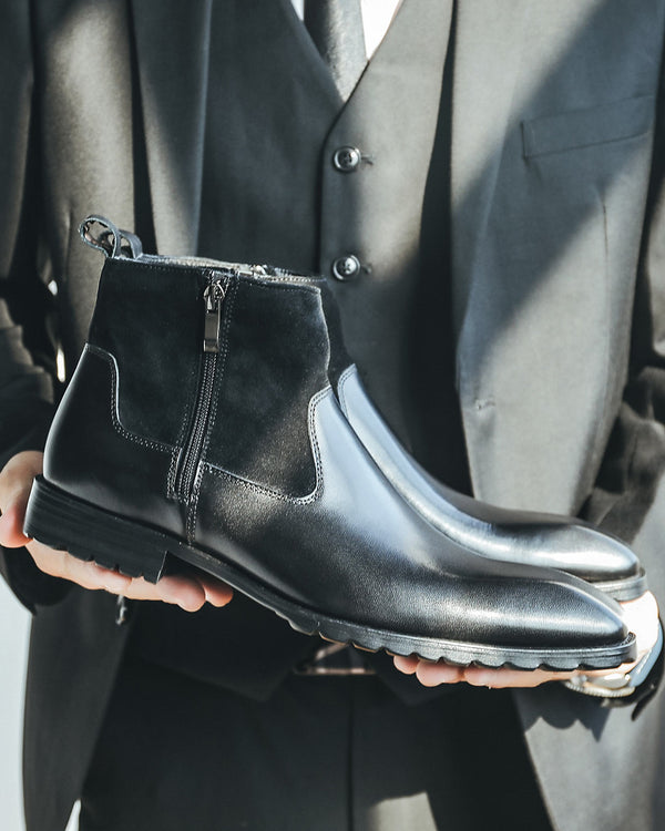 mens-Leather High Ankle Chelsea Boots - Amos - Alexandre León | black