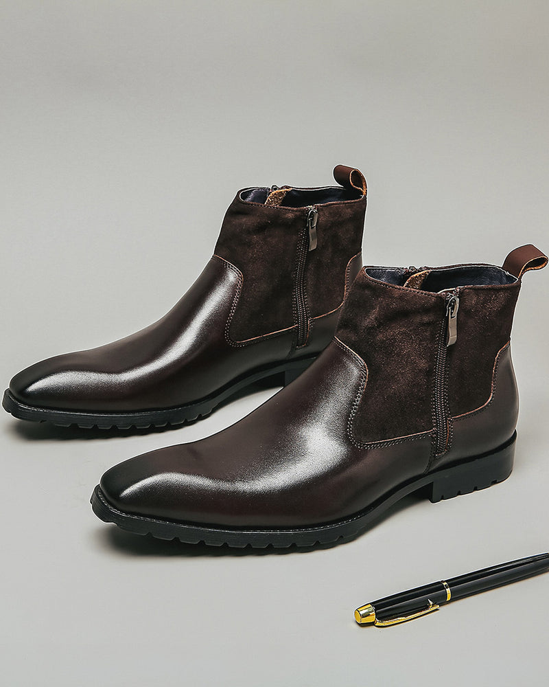 Leather High Ankle Chelsea Boots - Amos [Coffee Brown]