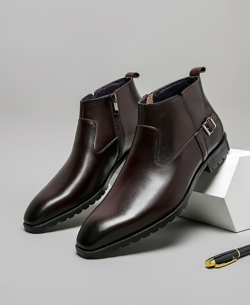 mens-Leather High Ankle Chelsea Boots - Beau - Alexandre León | coffee-brown