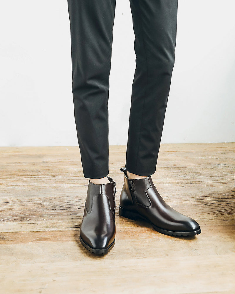 Leather High Ankle Chelsea Boots - Beau [Coffee Brown]