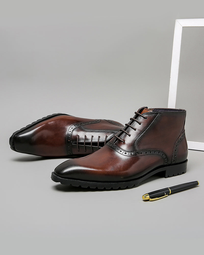 Leather High Ankle Oxford Shoes - Blaze [Coffee Brown]