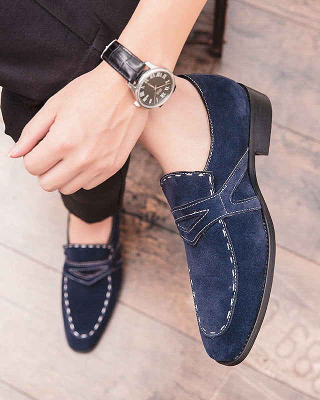 mens-Leather Penny Loafer Shoes - Eason [Blue] - Alexandre León