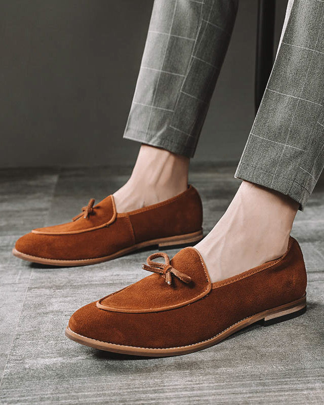 mens-Leather Tassel Loafer Shoes - Roper [Brown] - Alexandre León