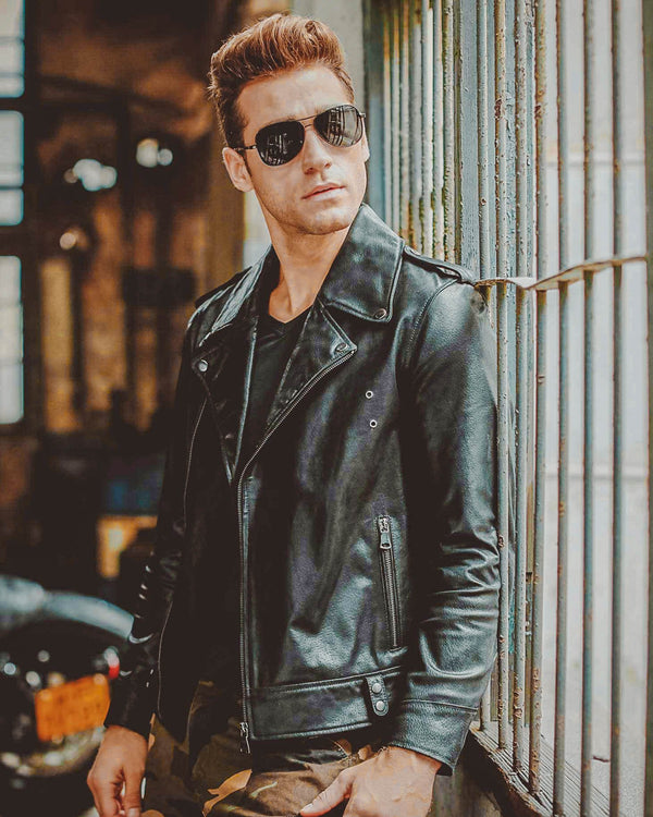 Biker Leather Jacket - Carlos [Black]