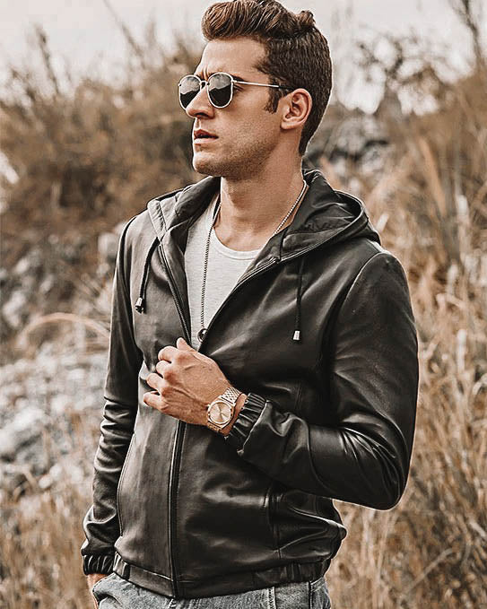 mens-Hooded Leather Jacket - Camilio [Black] - Alexandre León