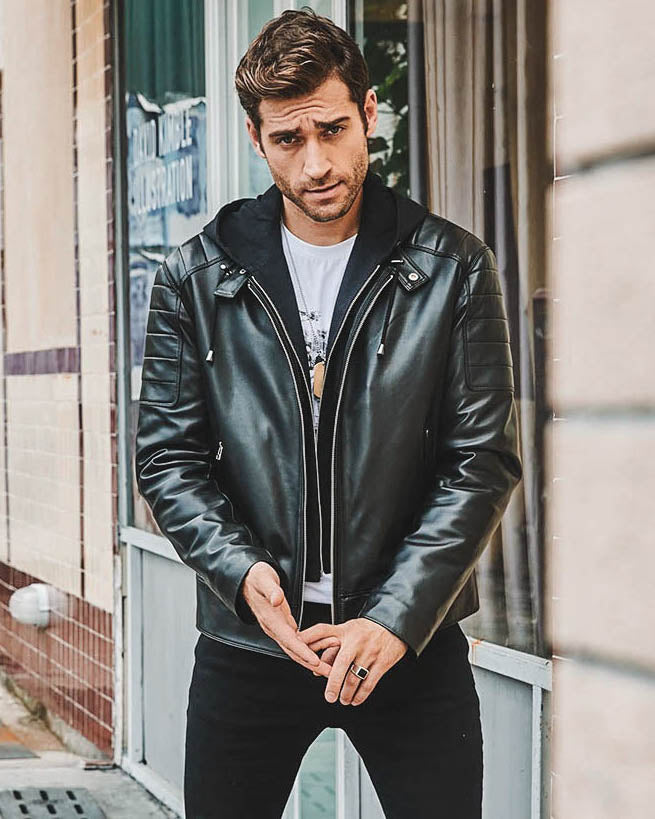 Hooded Leather Jacket - Dane [Black] - Alexandre León